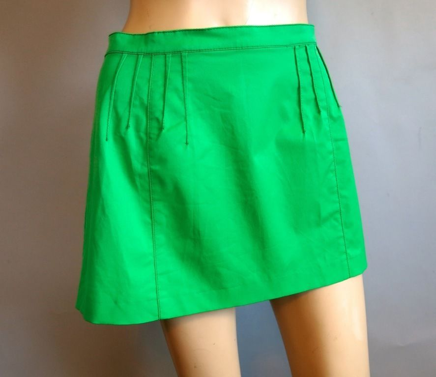 MISS SIXTY 60 Lime Green Pleated Mini Skirt URBAN OUTFITTERS #MissSixty #ALine