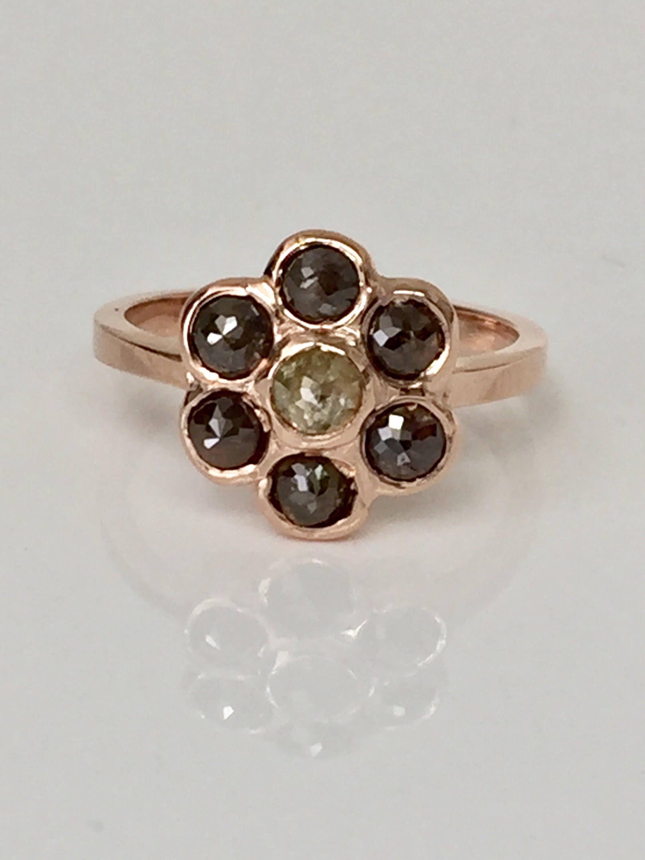Dainty 7stone natural genuine diamonds 14k rose gold