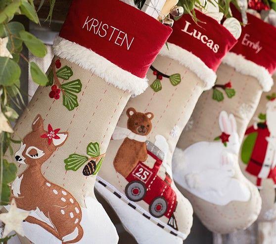 Woodland Stocking Collection Christmas Stockings Christmas Stockings Personalized Kids Christmas Stockings