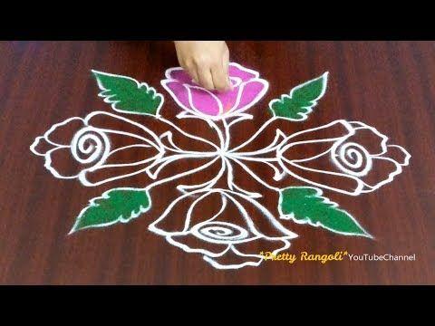 Rose Flower Rangoli With Dots New Year Sankranthi Pongal Rangolis With Colors Flower Kolam 494 Youtube