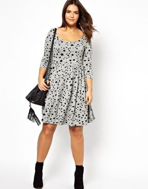 Image 4 of ASOS CURVE Exclusive Skater Dress In Heart And Star Print Longer  Length Asos 8a8e045e04c9