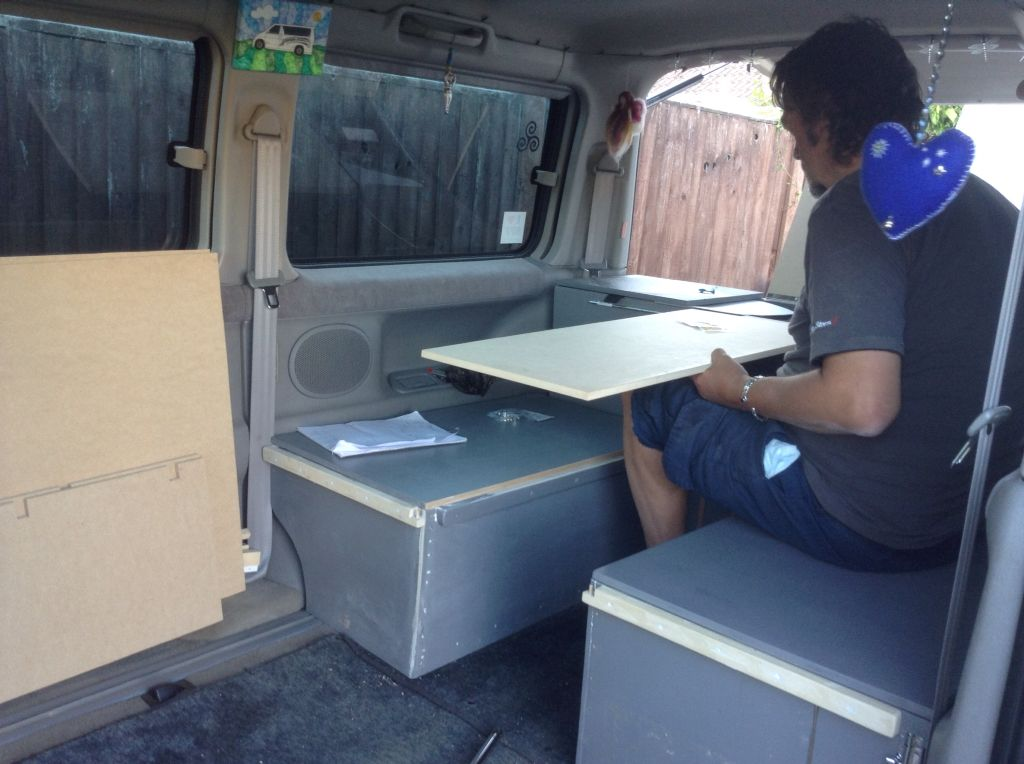 Fitting out a Mazda Bongo  A home-made rear box with seats