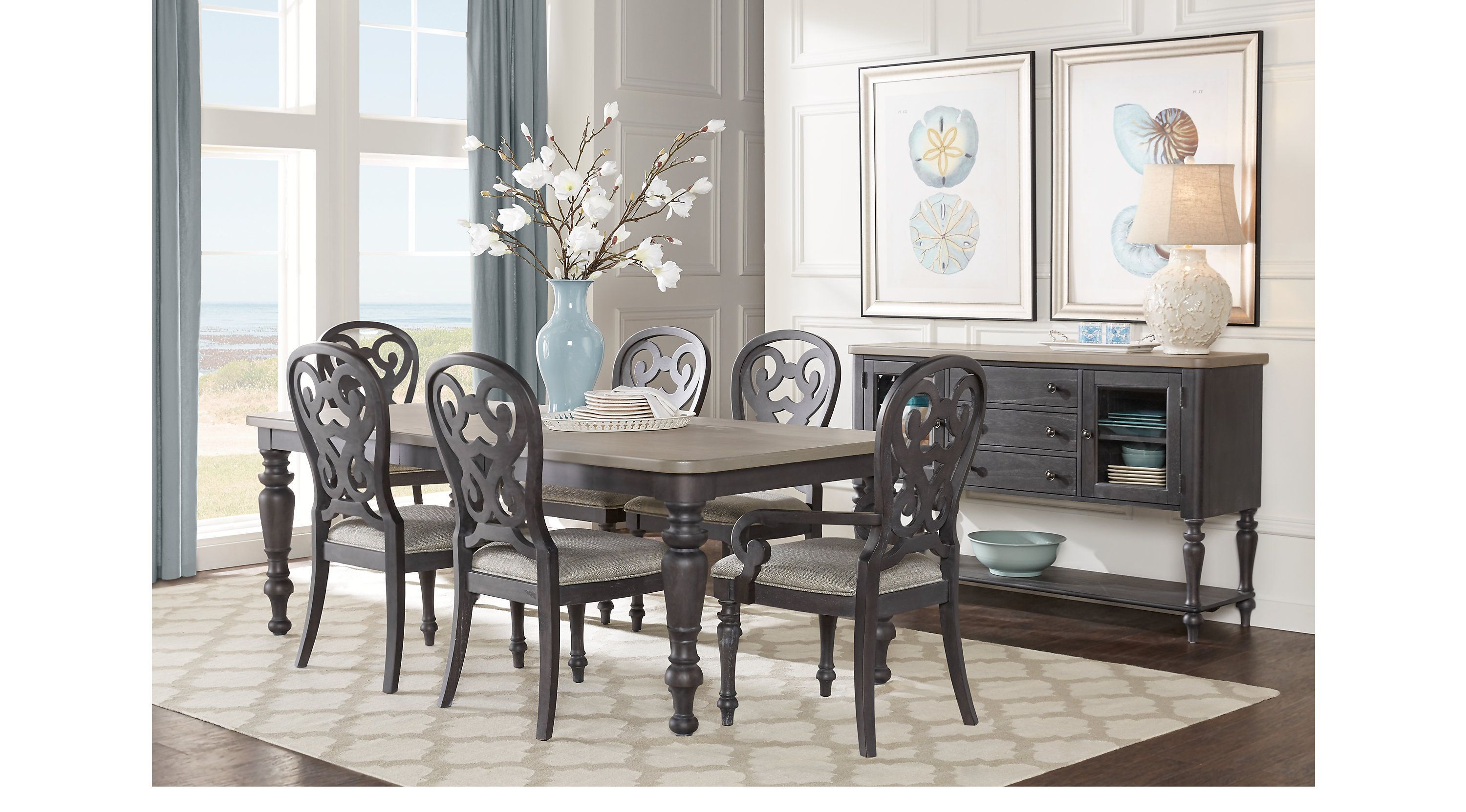 Cindy Crawford Home Coastal Breeze Charcoal 5 Pc Rectangle Dining Room Sets Colors