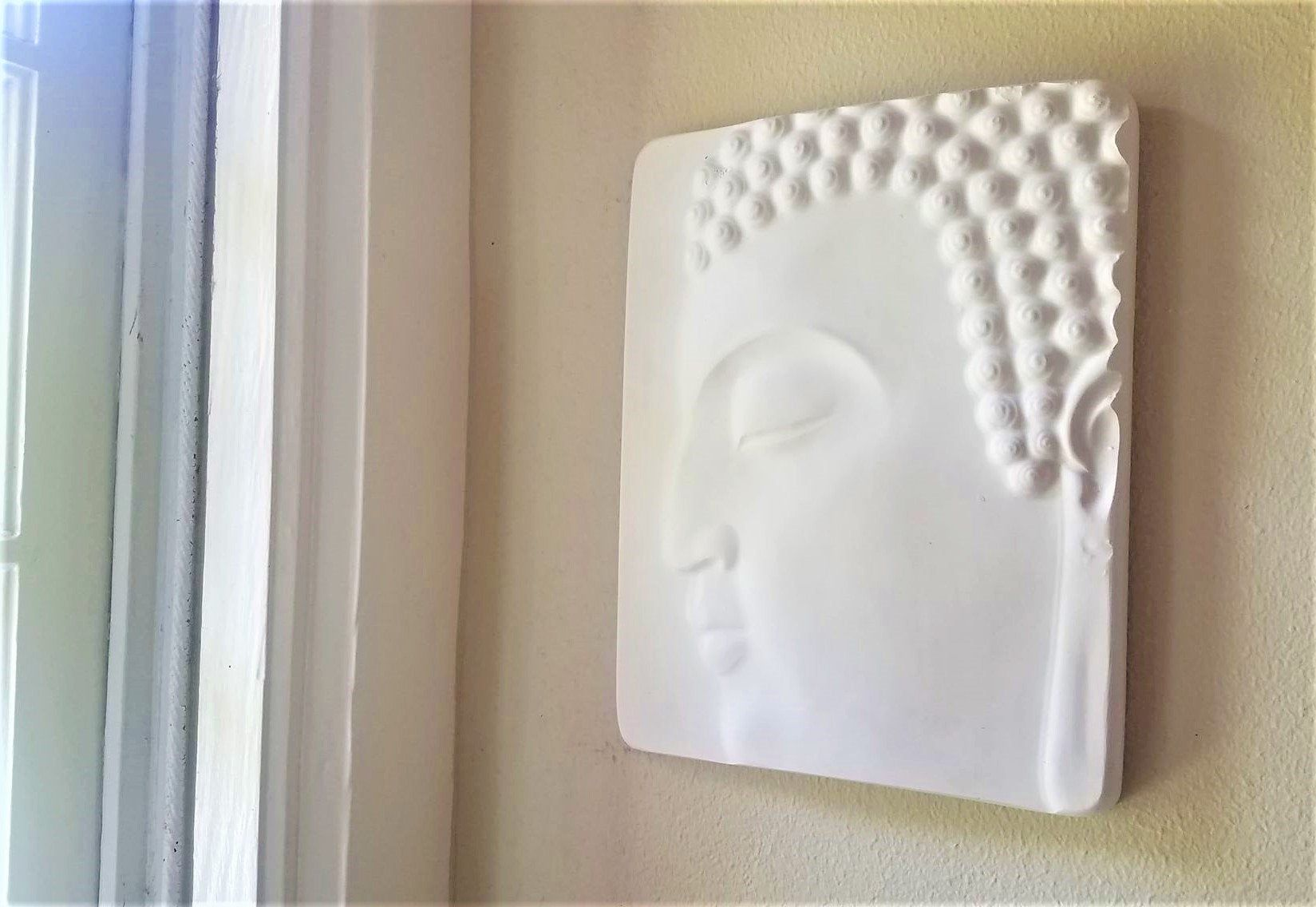 Buddha wall hanging, Buddha plaque, Zen, peaceful Buddha face, matte white home accent, Buddha decor #buddhadecor