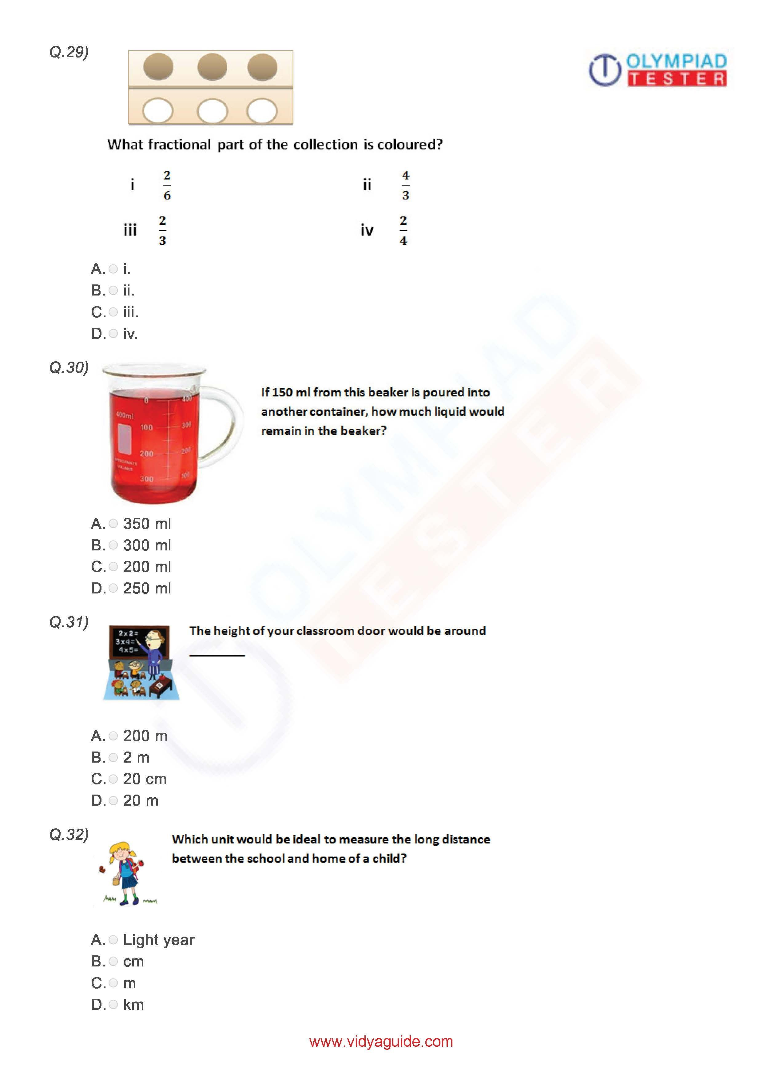 Download Free Grade 3 Maths Printable Worksheets Or Take The Tests Online At Vidyaguide Math Olympiad Math Math Printables