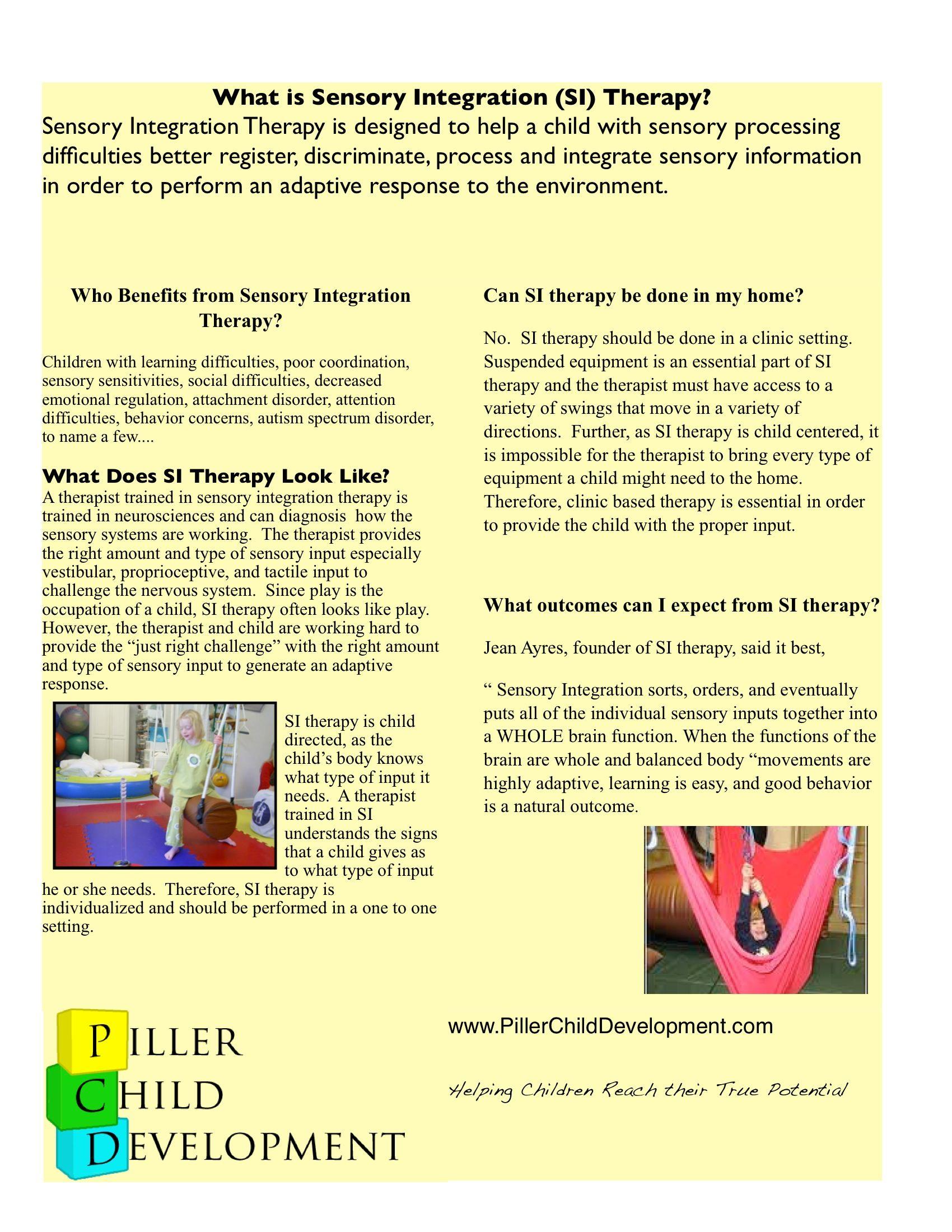 What is Sensory Integration Therapy? | Sensory Handouts | Sensory