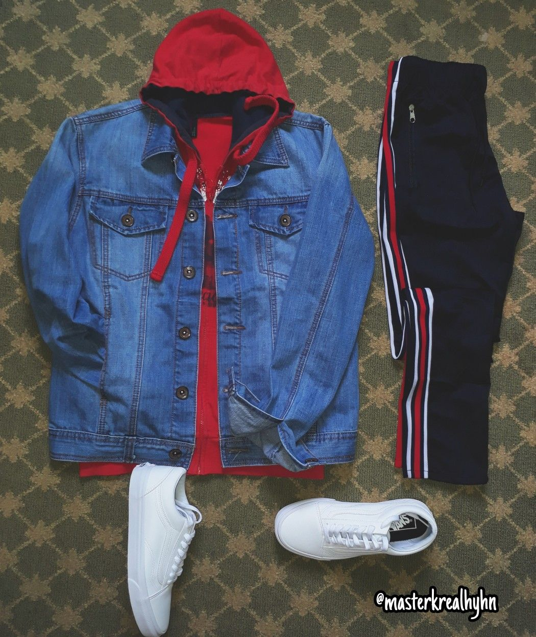 Washed Out Denim Jacket Red Hoodie Underneath Sportswear Striped Pants And White Old Skoll Vans Ig Hoodie Outfit Men Red Hoodie Outfit Red Hoodie Outfit Men [ 1248 x 1050 Pixel ]