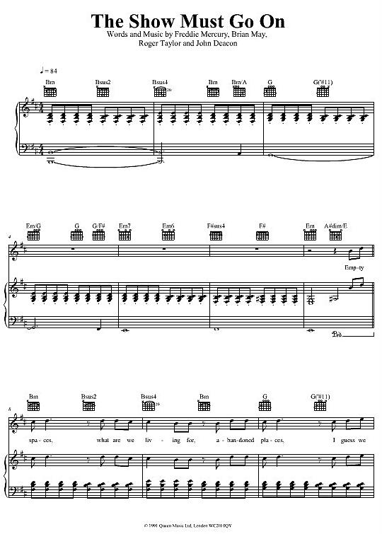 The Show Must Go On Queen Klick Auf Die Noten Um Reinzuhören Noten Klaviernoten Klavier