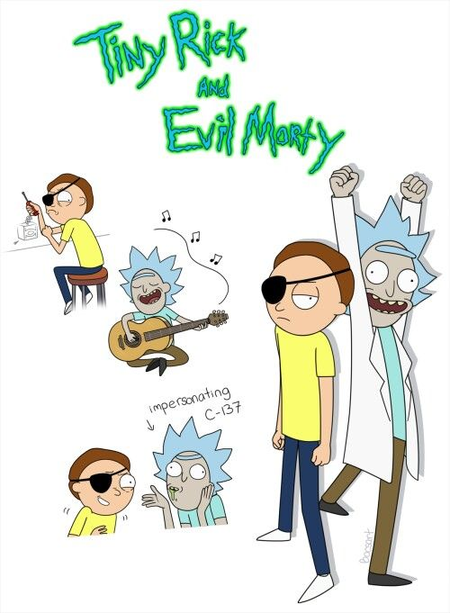 tiny morty and evil rick rick and morty pinterest
