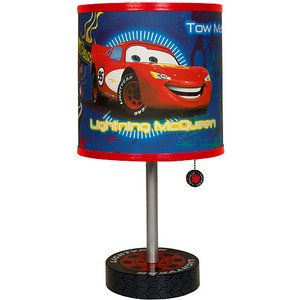 Disney cars table lamp car table and cars bedroom themes for Bedroom lamps walmart
