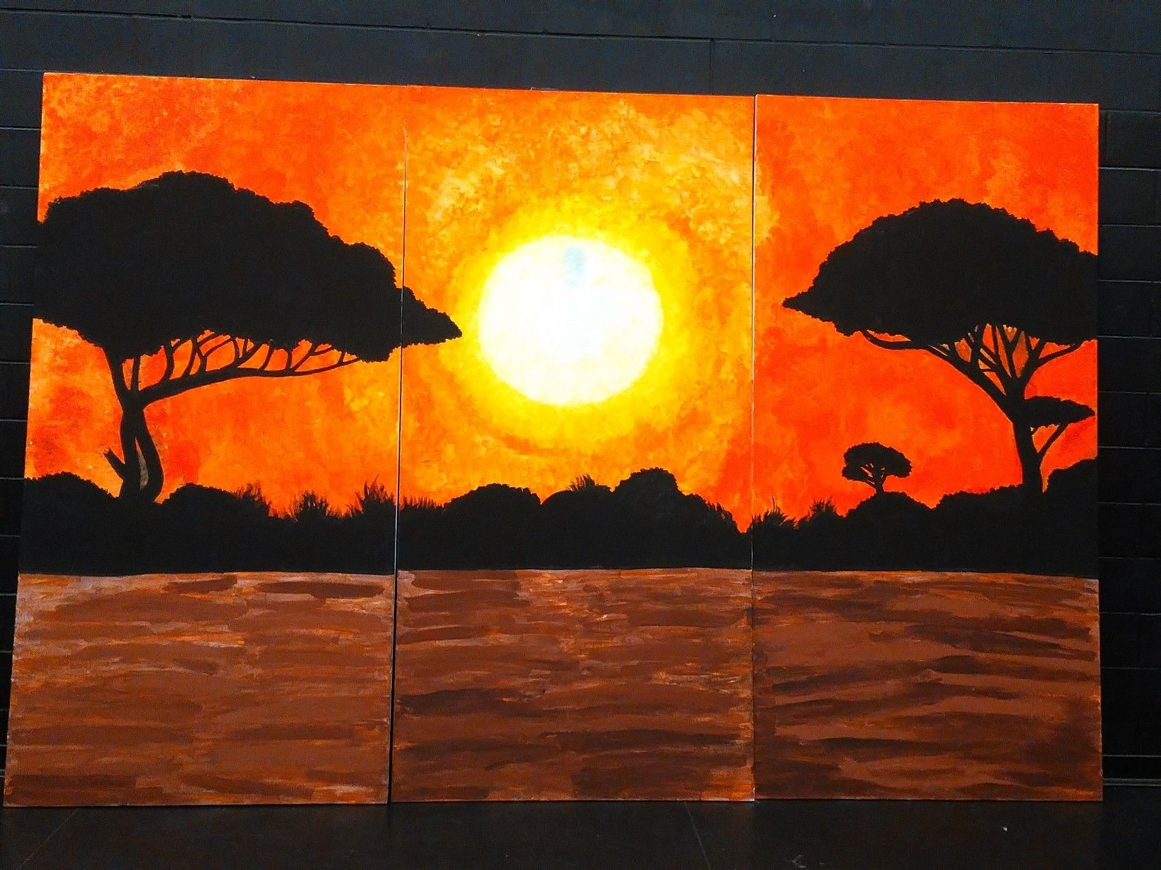 Completed African Savannah Backdrop painted by Intermediate students