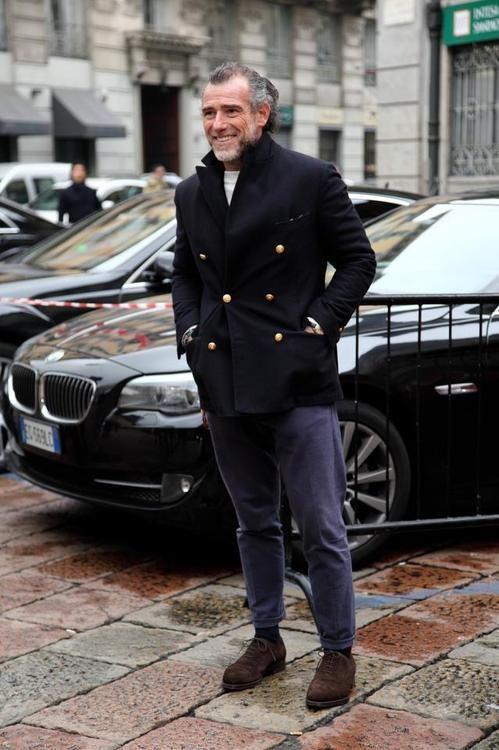 Alessandro Squarzi wearing Black Pea Coat, White Crew-neck Sweater ...