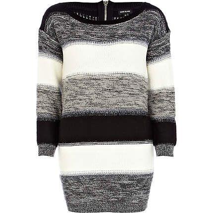 grey monochrome stripe reverse jumper dress  striped