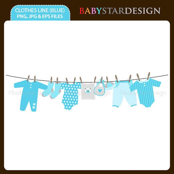 Baby Clothesline Blue - Clipart Single INSTANT DOWNLOAD ...