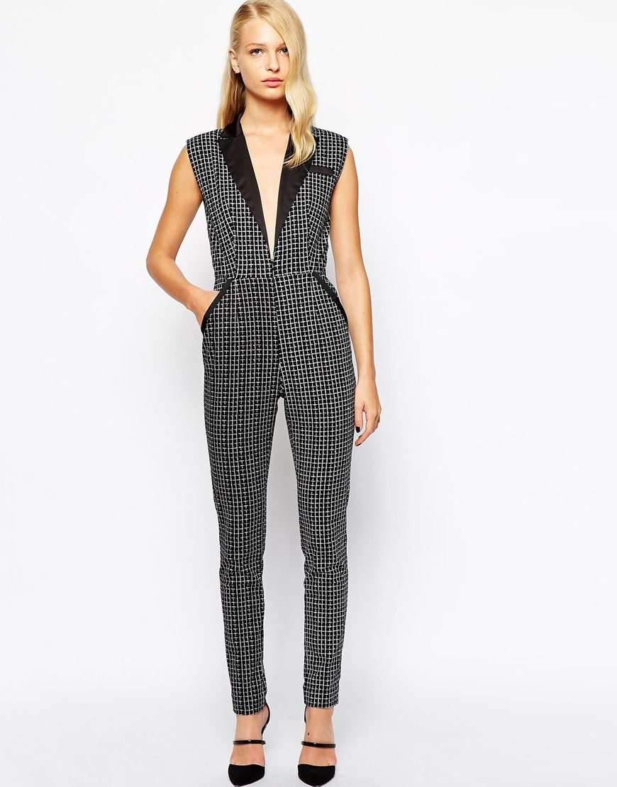 864cd6c70939 Self Portrait Tuxedo Jumpsuit With Plunge Neckline