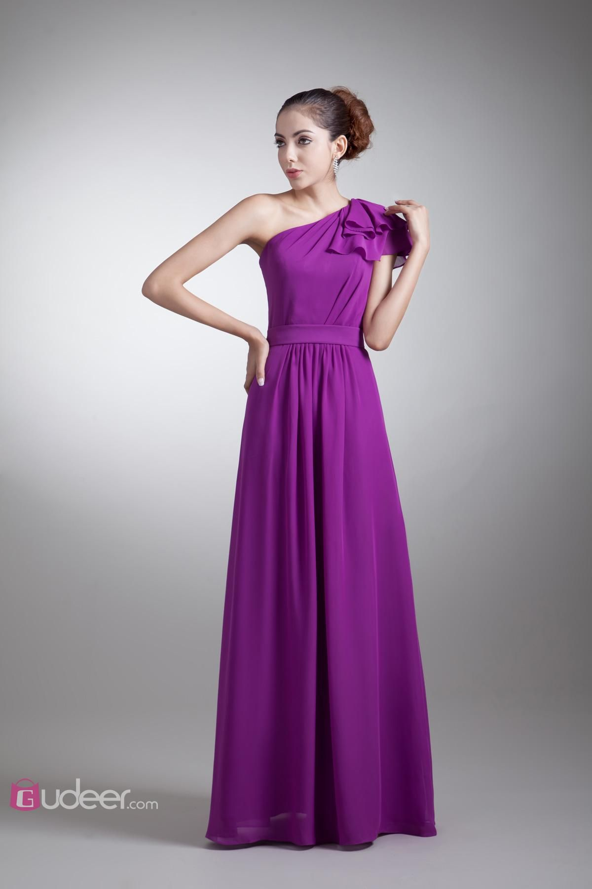 Elegant Purple One Shoulder A-line Long Bridesmaid Dress with ...
