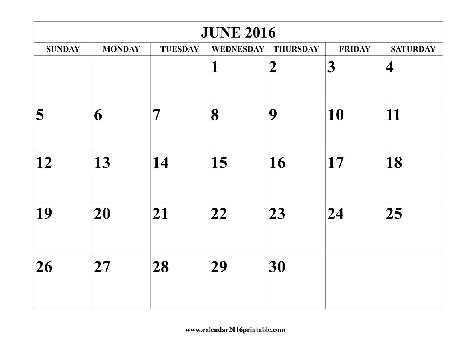 June  Calendar Template Free To Download And Print