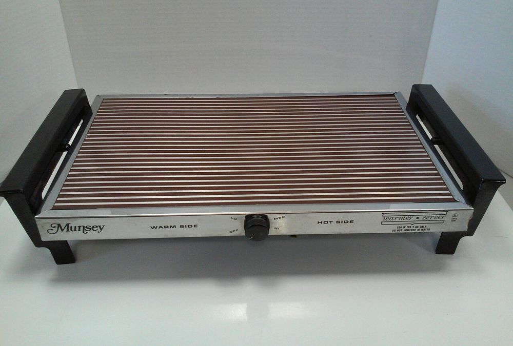 munsey vintage electric warming tray hot plate food warmer hot side retro