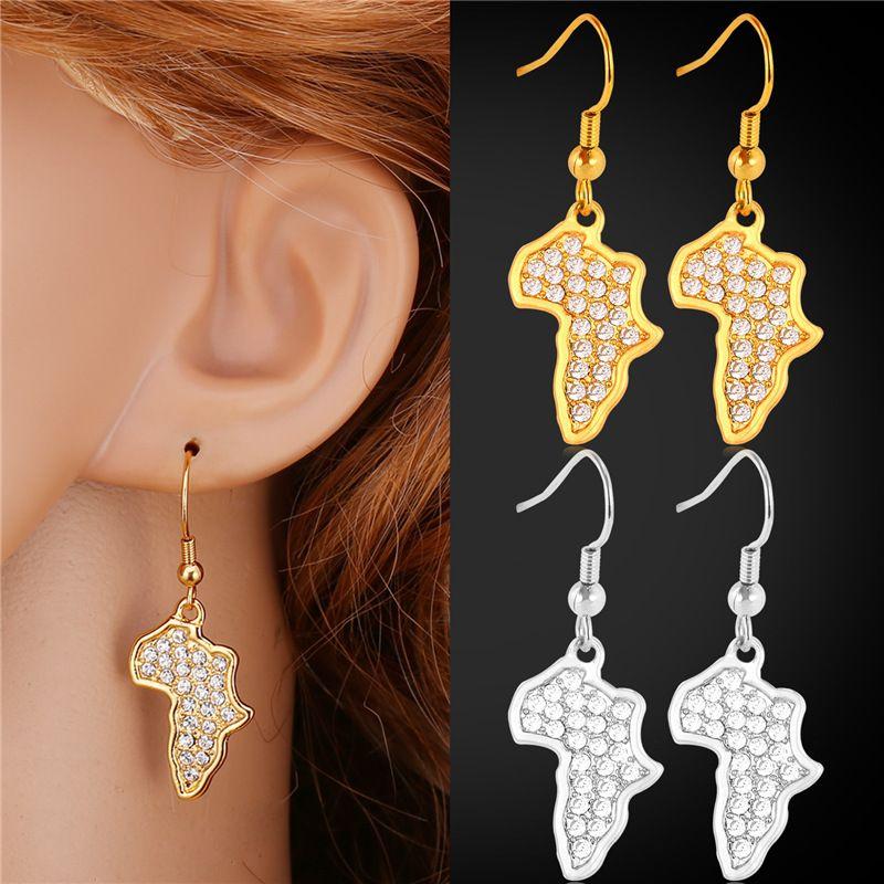 Rhinestone African Jewelry Drop Earrings For Women Gold Color