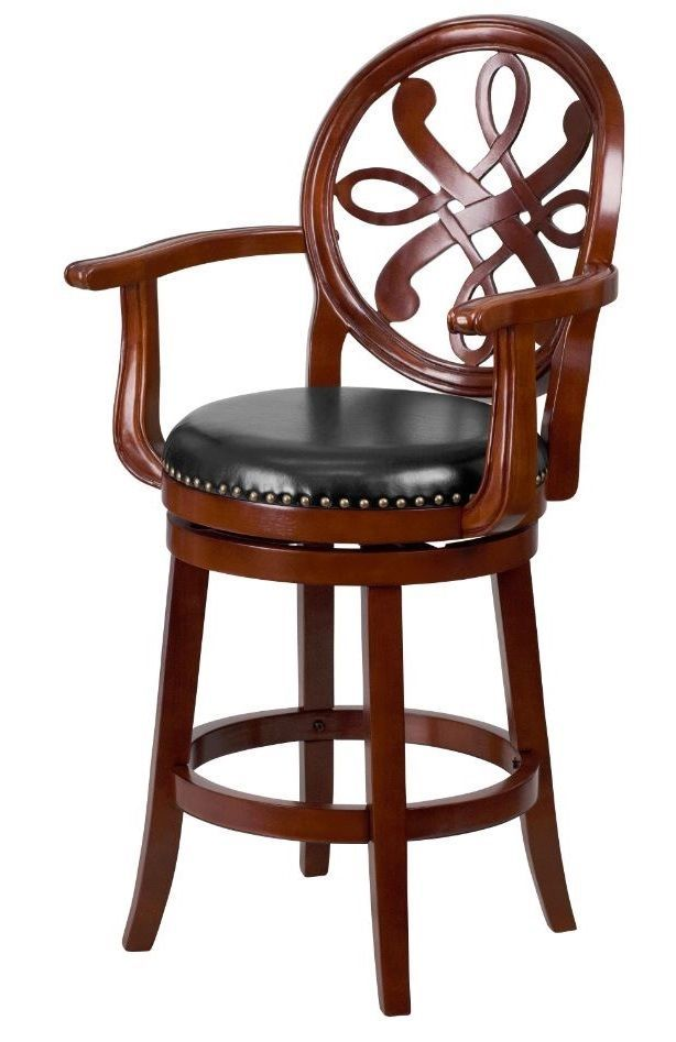 Counter Height Bar Stool Swivel High Chair Carved Wood Arms