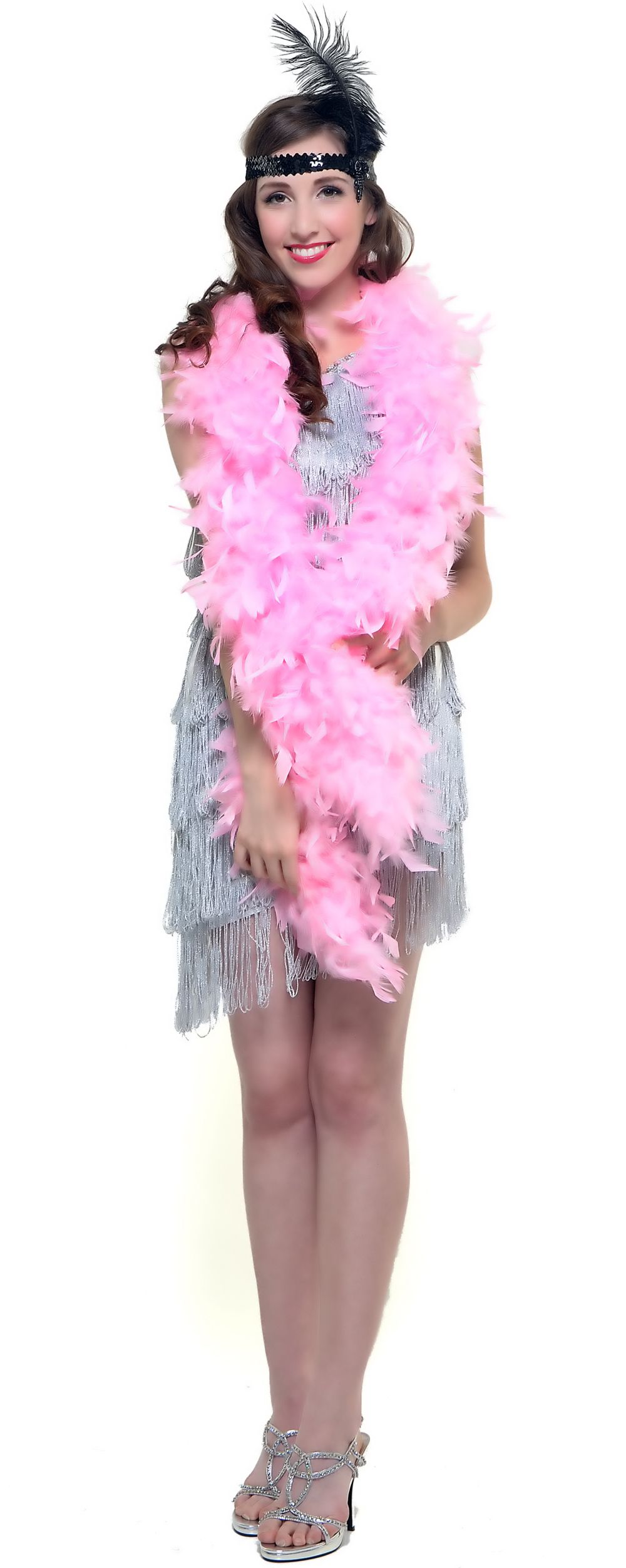 Unique Vintage | Pink feathers, Vintage prom and Feather boas