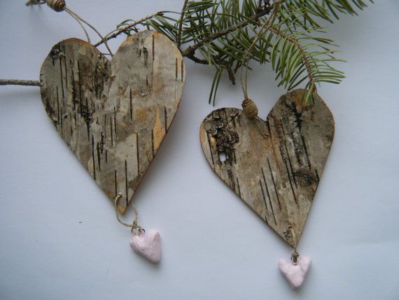 Two Rustic Wood Heart Ornaments With Ceramic Drop White Birch Bark Valentine Decoration Large And Birch Bark Crafts Birch Bark Decor How To Make Ornaments