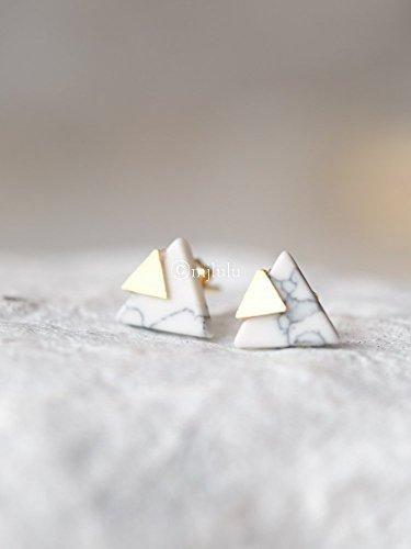 Geometric Marble Stud Earrings Fond Of Fond Of