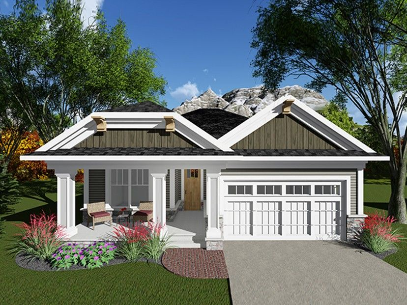 ranch house plan with 1334 square feet and 2 bedrooms from dream