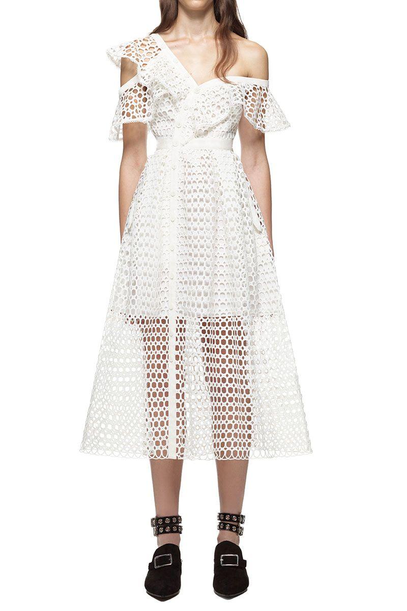 0315c8b603b  329.00 Self Portrait Lace Frill Midi Dress In White