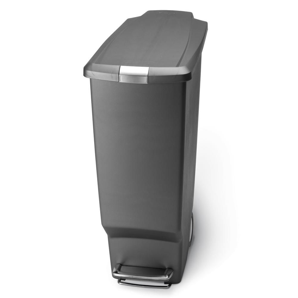 Simplehuman 40 Liter Slim Plastic Step On Trash Can In Grey