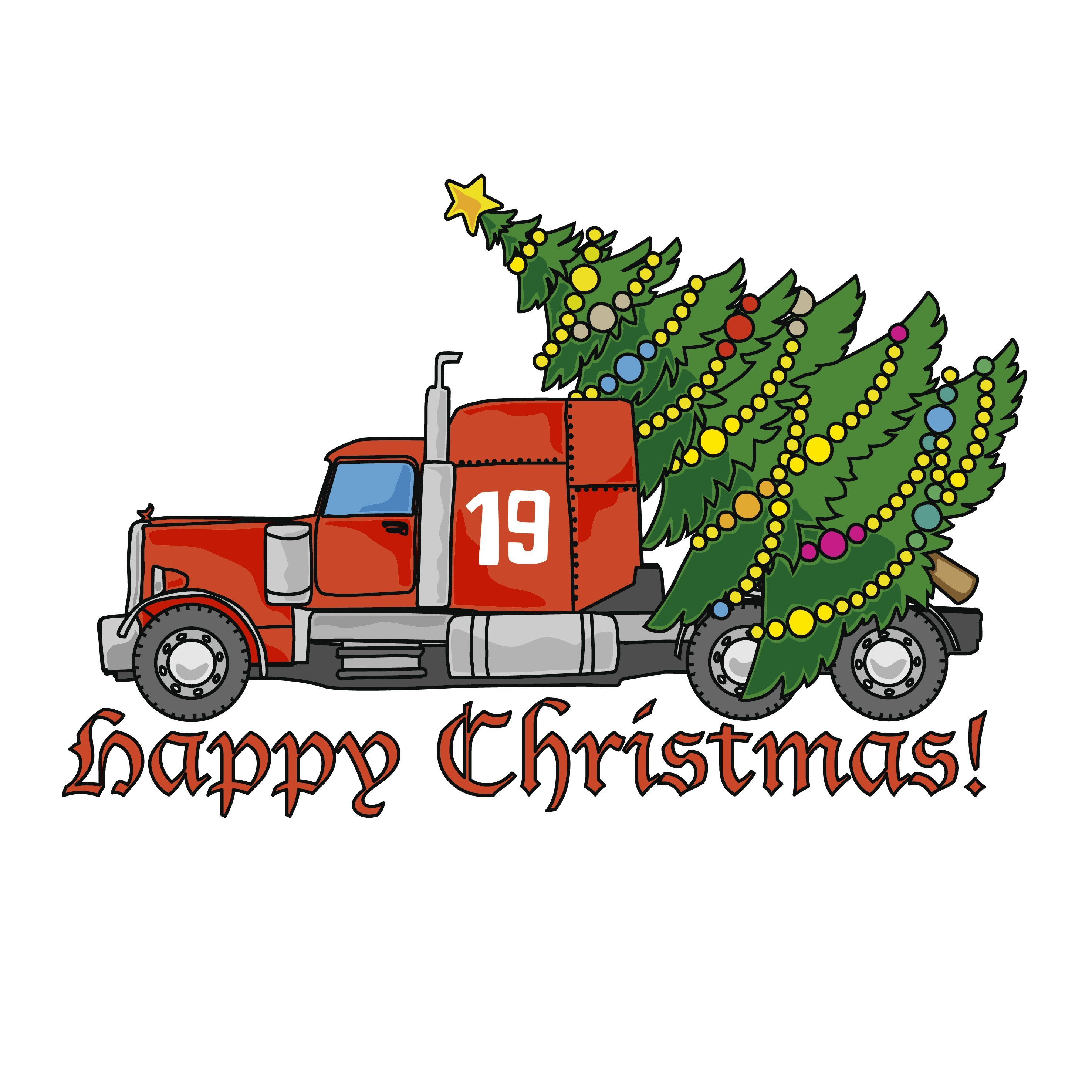 Red truck with Christmas tree SVG file Silhouette