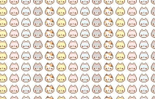 Cat pixel faces