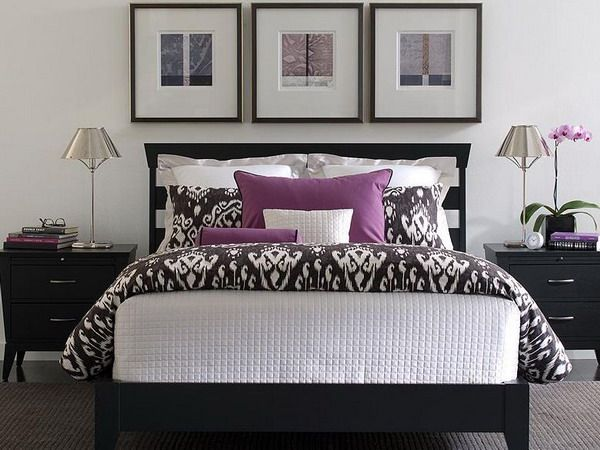 White Bedroom With Dark Furniture purple and white bedroom combination ideas | white patterns