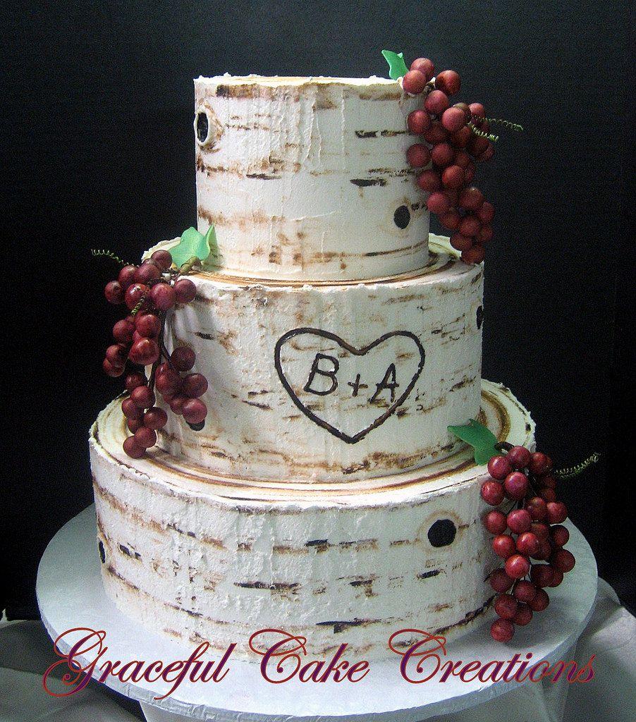Wedding Cake 101 An Introduction To Wedding Cakes: Beautiful Rustic Birch Bark Designed Butter Cream Wedding
