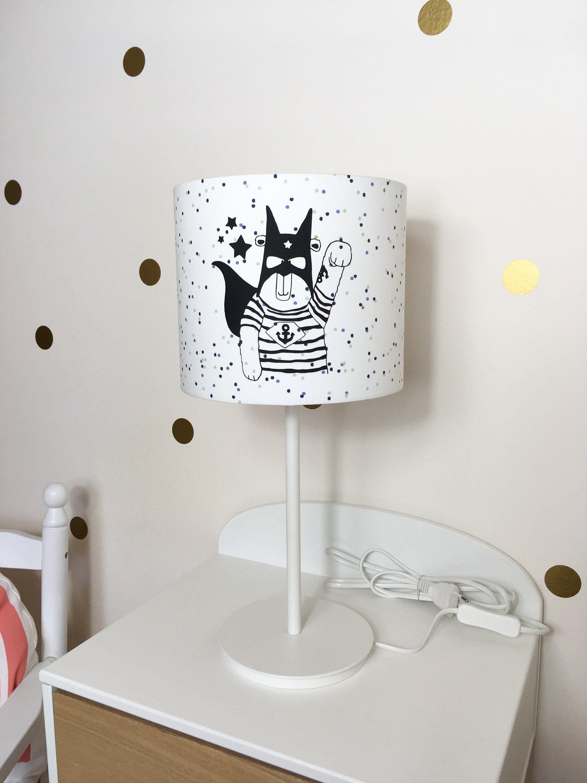 Tischlampe Kinderzimmer Superheld Lampenschirm Kinderzimmer