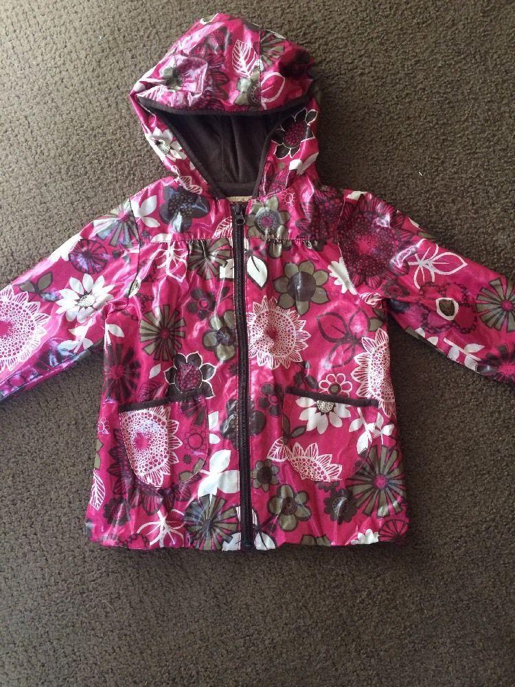 d10c651f5 OLD NAVY Toddler Girls Pink Brown Flowers Hooded Rain Jacket Coat ...