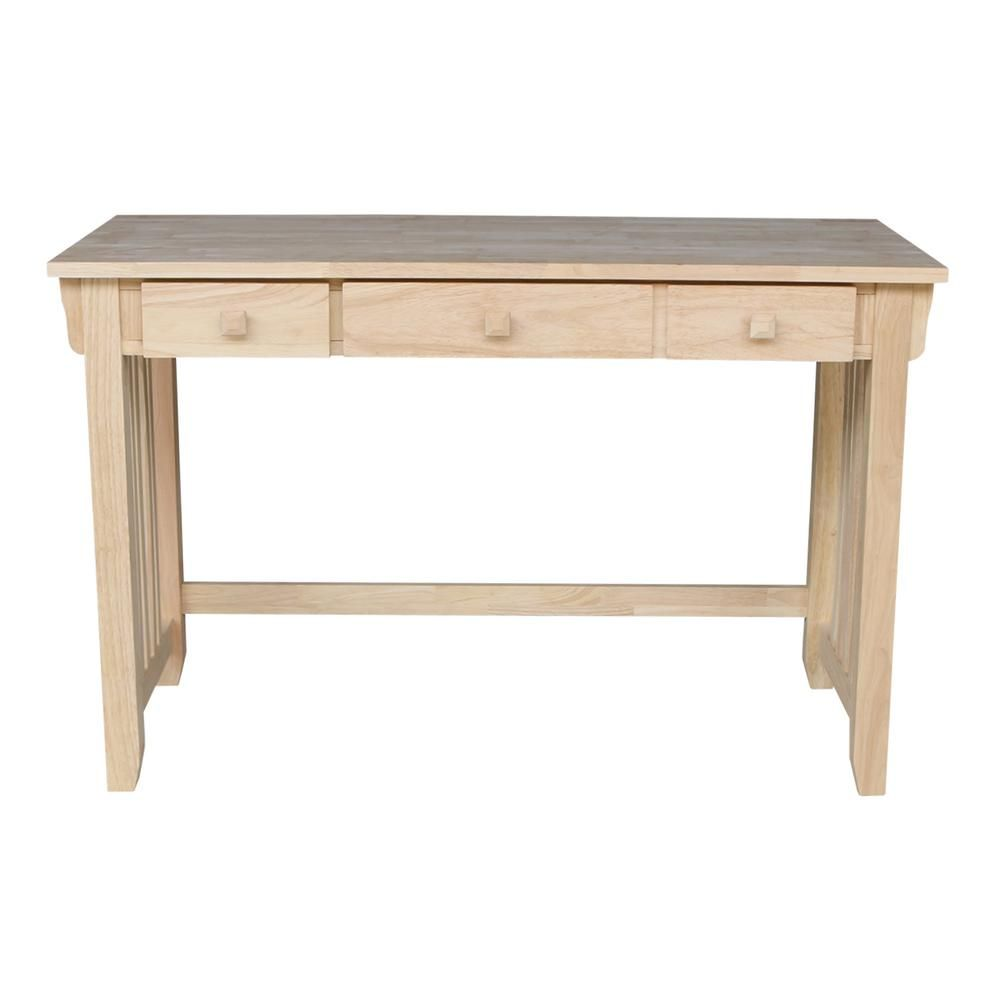 International Concepts 48 In Rectangular Unfinished 2 Drawer Writing Desk With Solid Wood Material Of 45d In 2020 Solid Wood Writing Desk Unfinished Furniture Desk