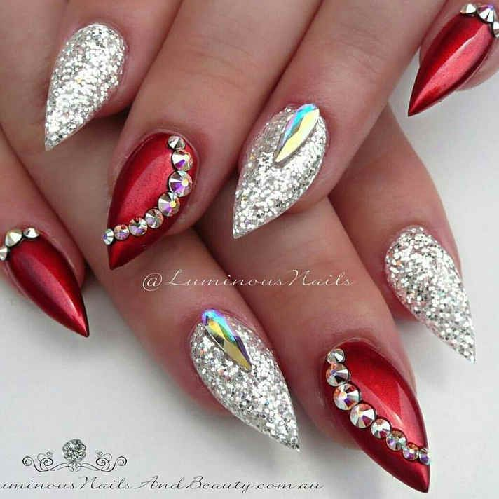 60 Christmas Holiday Nail Arts With Red Gold Stiletto Style In