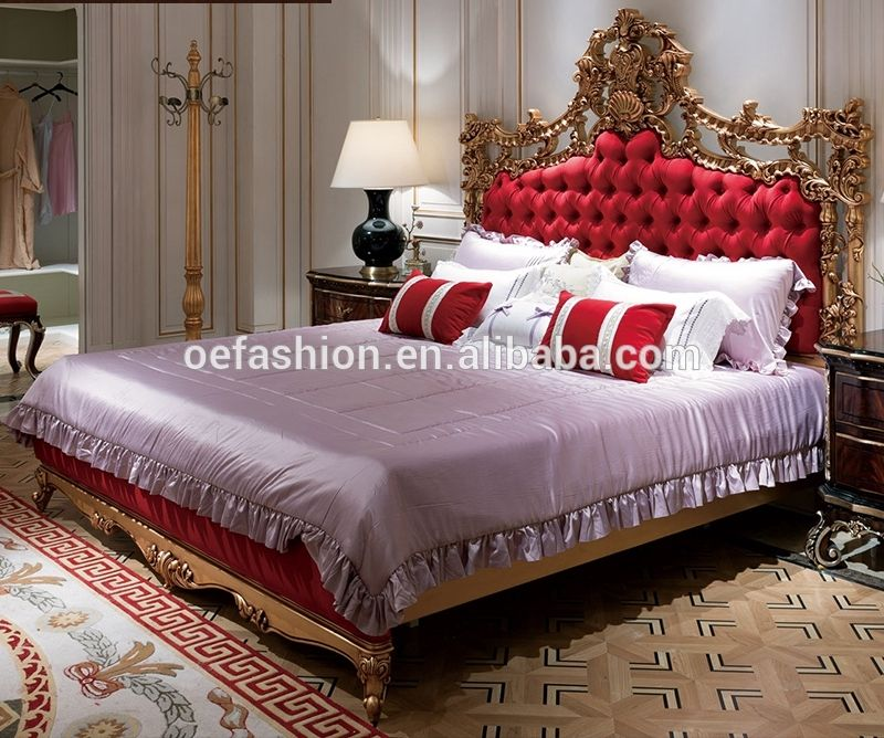 Oe Fashion French Style Classic Royal Wooden Double Bed Designs