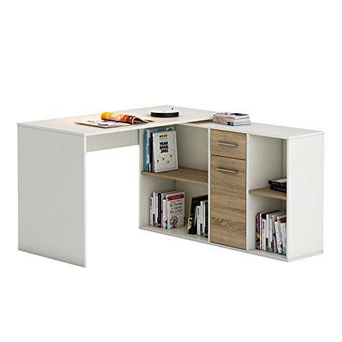 Eckschreibtisch  Eckschreibtisch Schreibtisch Winkelschreibtisch DIEGO mit Regal in ...