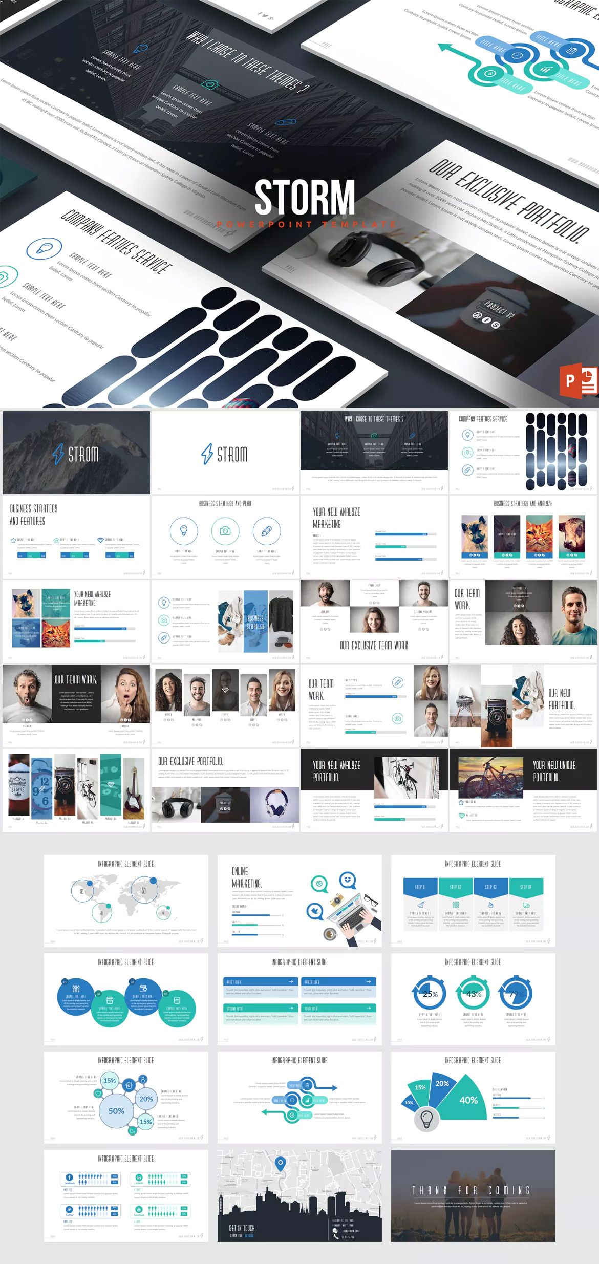 Strom Powerpoint Template By Inspirasign On Envato Elements Keynote Template Presentation Slides Templates Powerpoint Presentation Design