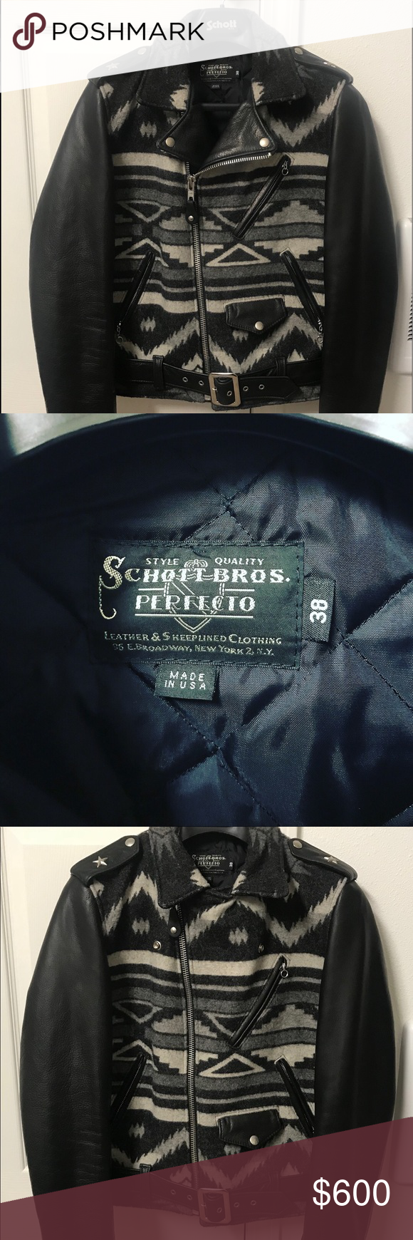 Schott Nyc Perfecto Leather Jacket Size 38. NWT Leather