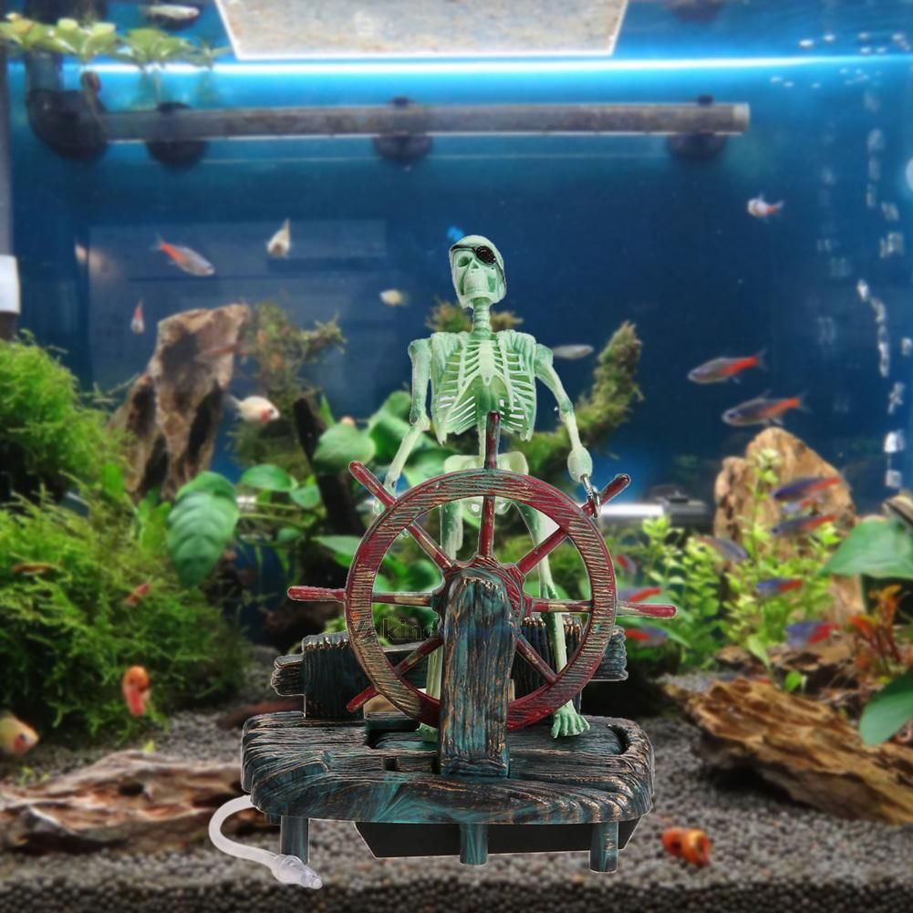 Pirate Captain Skeleton W Air Operated Wheel Fish Tank Aquarium Ornament Decor Fish Tank Decorations Aquarium Decorations Aquarium Ornaments