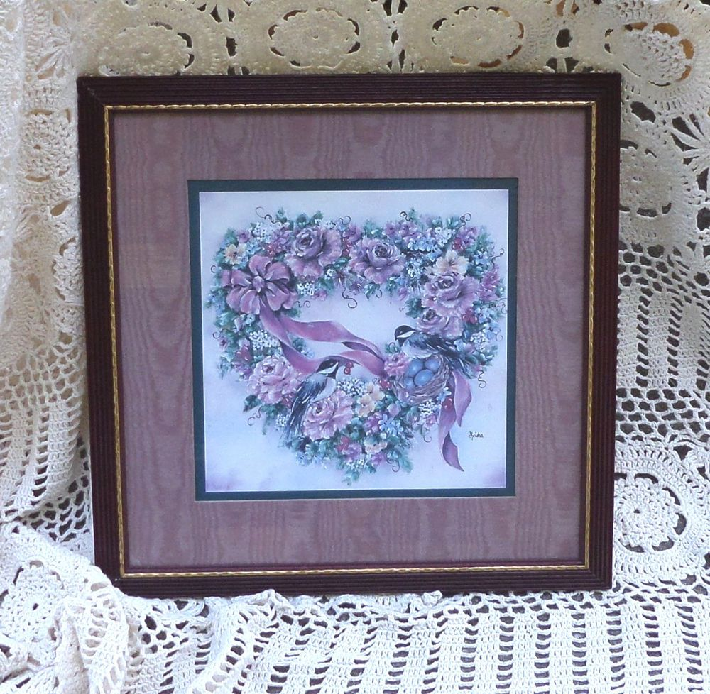Home interiors and gifts framed art - Details About Framed Home Interior Homco Print Burgundy Wine Wood Frame Matted Floral Birds