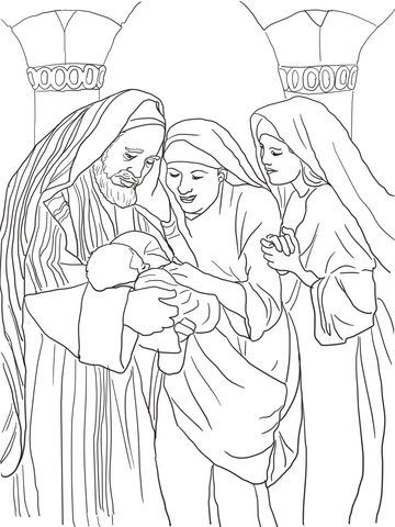 Zechariah Elizabeth And Baby John The Baptist Coloring Page From Category