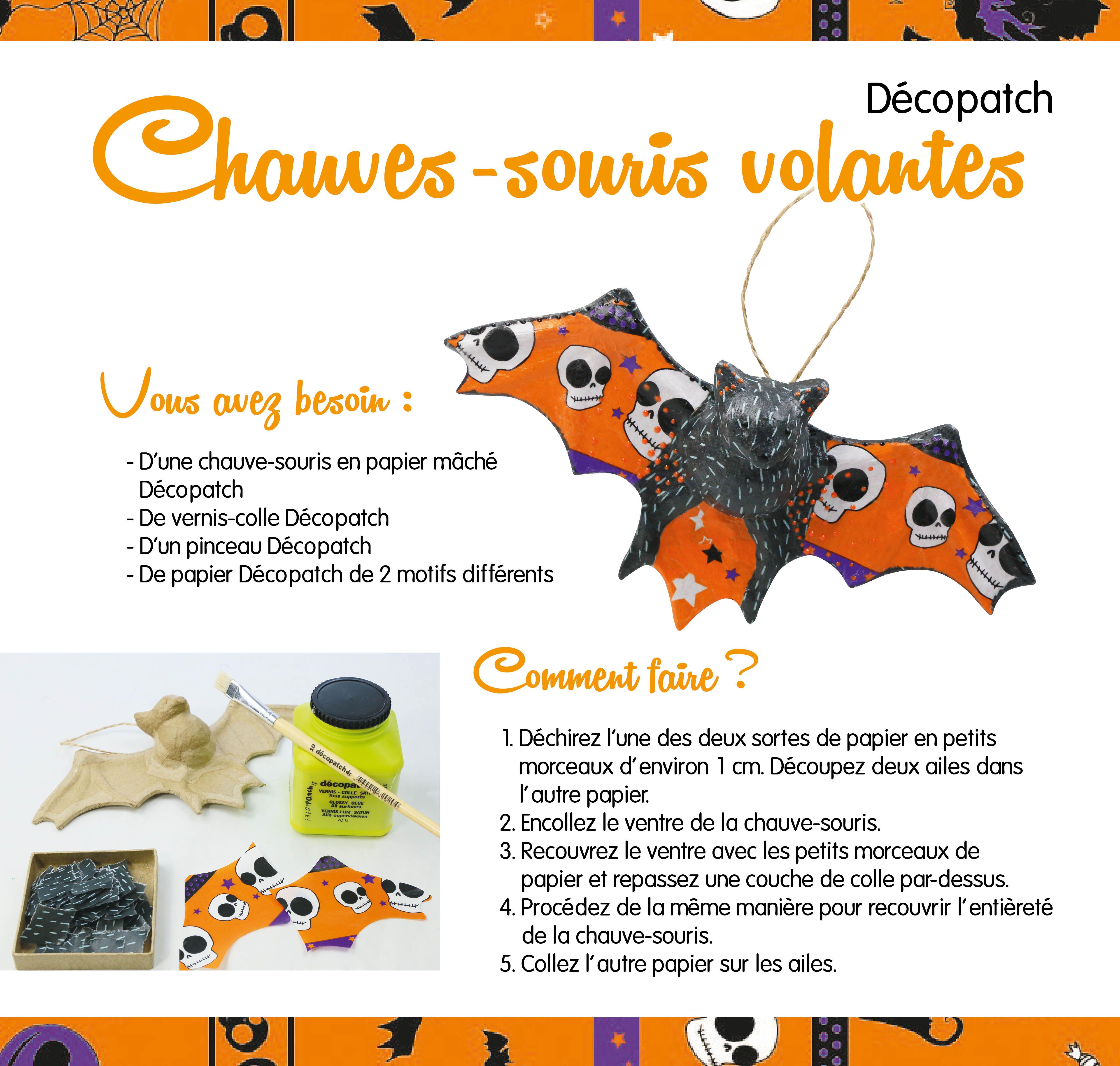 Fabriquez avec les enfants une chauve-souris d'Halloween. Avec l'assortiment Décopatch, rien de plus facile. Baptiserez-vous aussi la chauve-souris d'un nom effrayant ? #bricoler #diy #halloween #decopatch #AVA