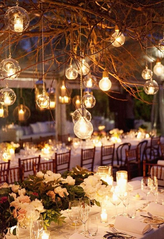 Love The Branches With Hanging Candle Light Create A Magical Canopy For Your Head Table
