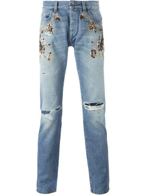 Clearance Fast Delivery Embellished distressed jeans Dolce & Gabbana Quality Free Shipping For Sale 100% Authentic Online 69Dss1wxR