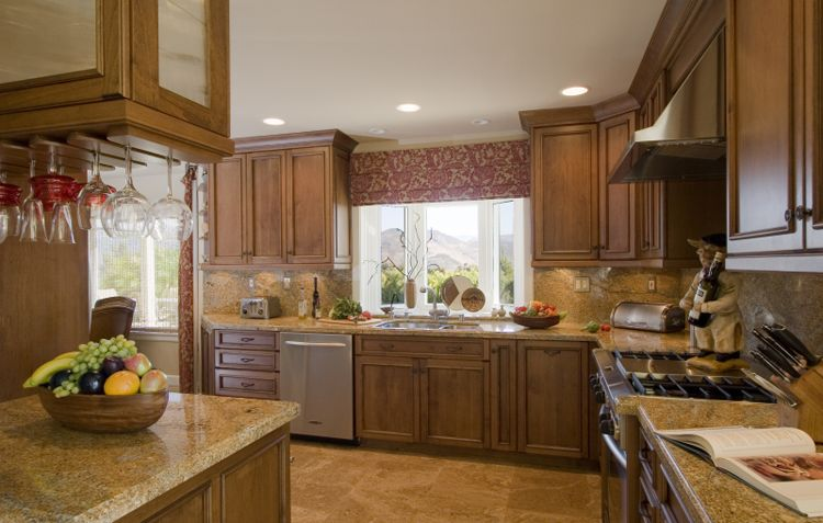 Maple cabinets, granite countertops & stone floor accented ... on Maple Kitchen Cabinets With Granite Countertops  id=36923