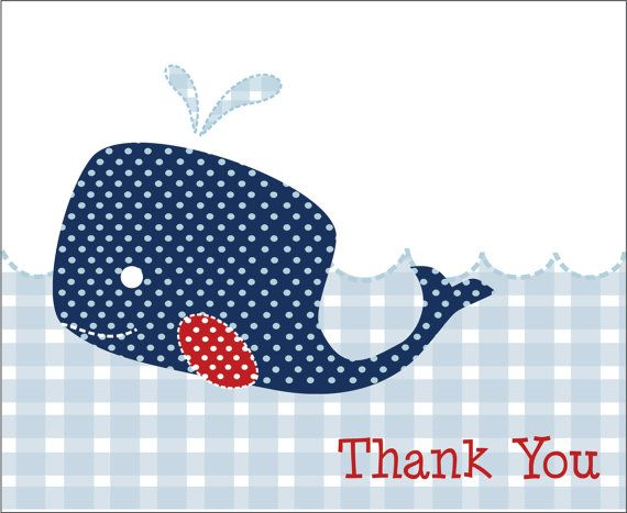 Printable Baby Shower Invitations and thank you card- Navy Blue Whale Pottery Barn Inspired 5x7